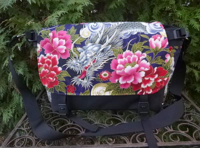 Japanese dragon and peonies messenger bag