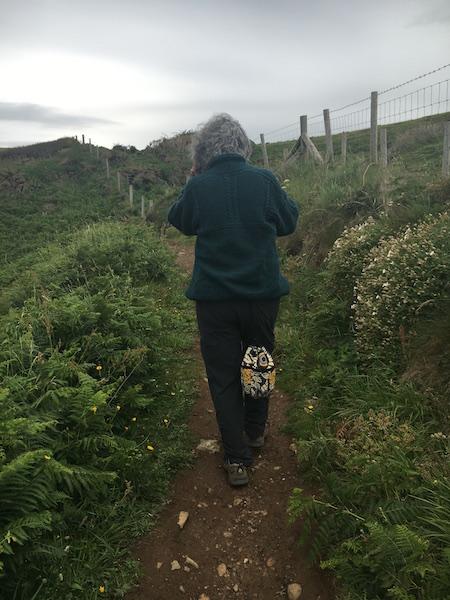 Lea on Strumble Head coastal trail in Wales