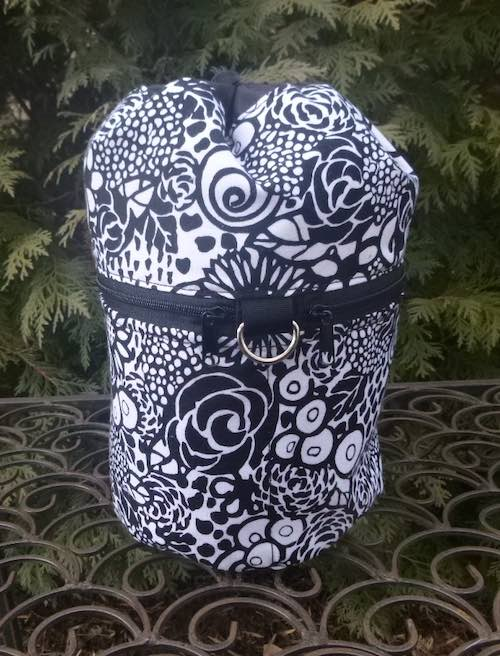 black and white knitting project bag with pockets