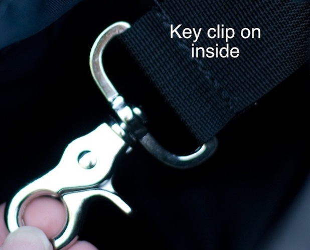 optional key clip from Zoe's Bag Boutique