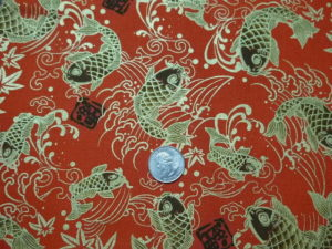 Japanese koi on red fabric fo custom bags