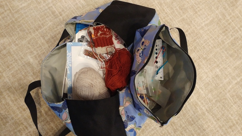 Knitting project and supplies tote and bag for notions