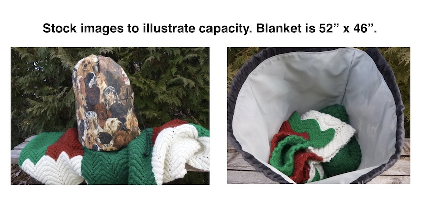 Large knitting bag for blankets afghans and sweaters