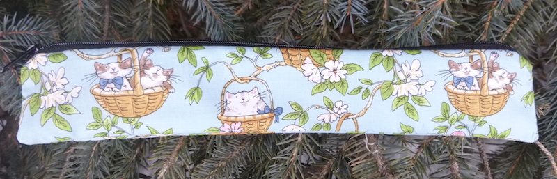 Pouch for paper and reusable straws with cats