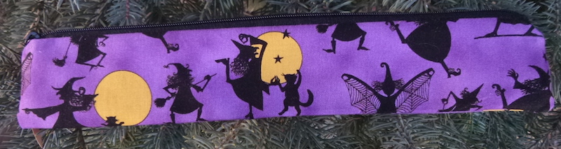 witches and cats pouch for reusable and paper straws