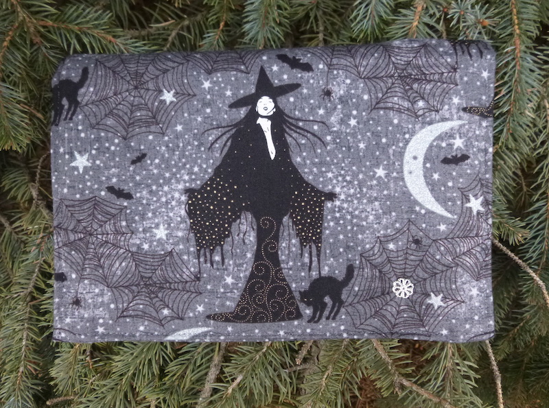 witch and cat wallet on a string