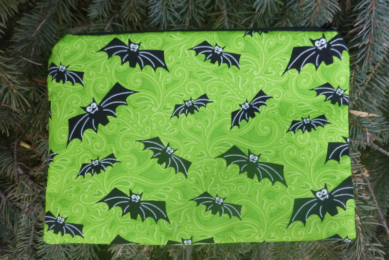 Glow in the dark bats zippered bag for makeup or accessories