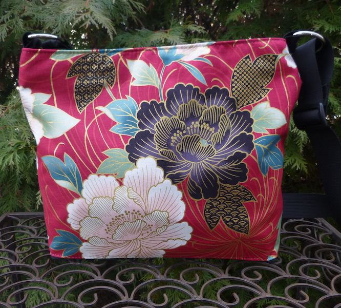 Japanese peonies zippered crossbody purse with pockets