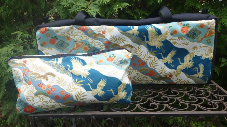 Japanese cranes zippered tote for racks and pushers and bag for tiles