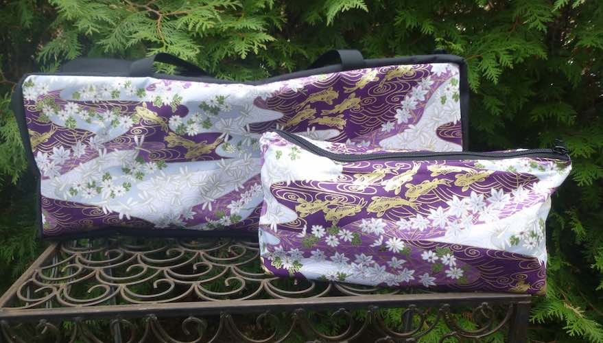 Japanese koi soft sided zippered tote for mahjong racks and bag for tiles