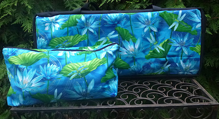 Dragonflies and water lilies soft sided tote bag for mahjong racks with bag for tiles