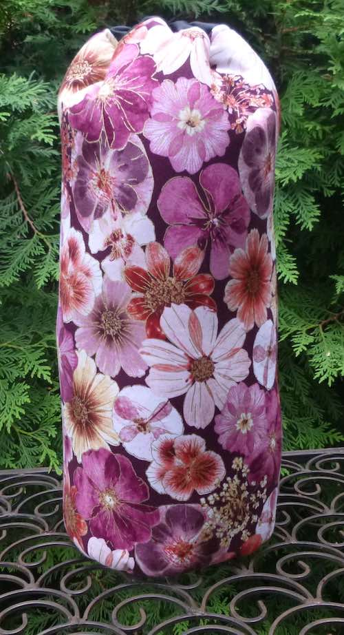 "Floral padded case for 12"" drop spindle"