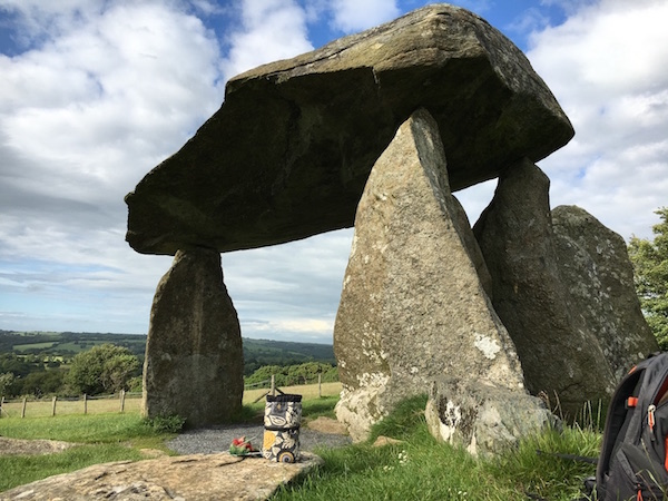 Lea's Kipster at Pentre Ifan stone burial site (3500 BCE) in Wales