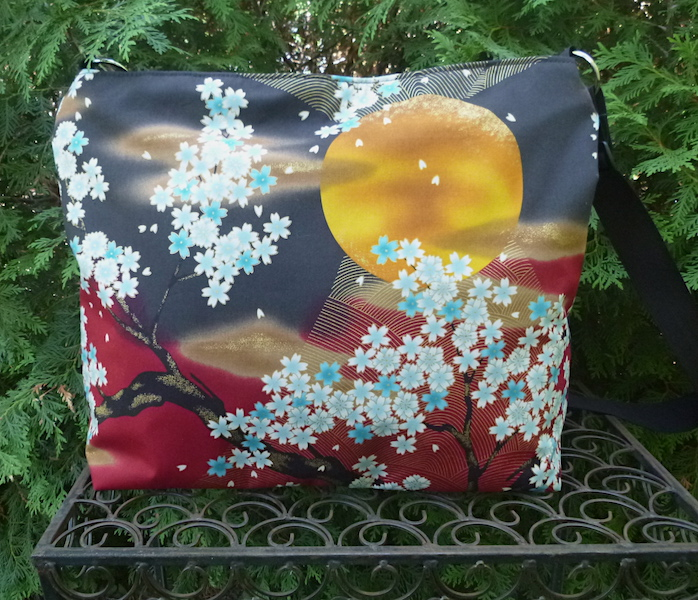 Japanese cherry blossoms and moon shoulder bag Zoe's Bag Boutique