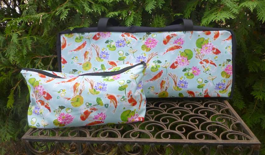 Japanese Koi zippered soft sided tote for mahjong racks and tiles
