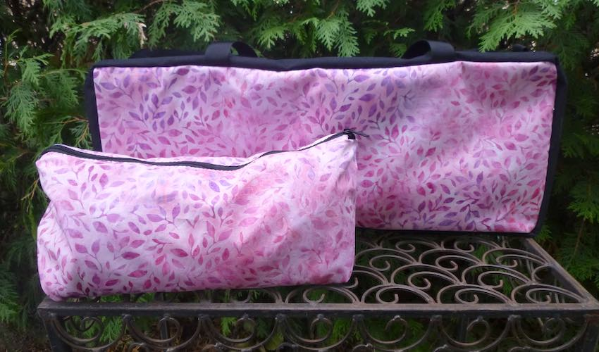 Pink batik soft sided zippered tote bag set for mahjong racks and tiles