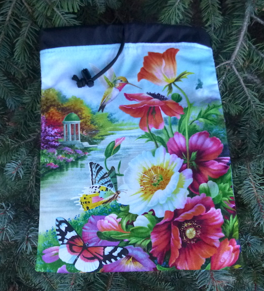 Hummingbirds and flowers flat bag for knitting projects game tiles