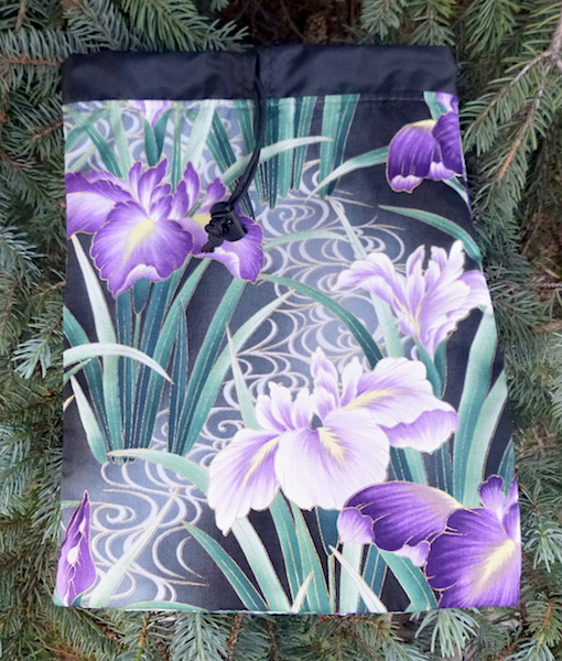 Japanese Iris flat bag for travel organize suitcase, Rummikub Scrabble tiles