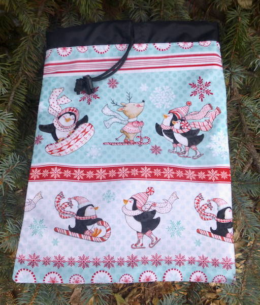 Cute winter Christmas penguins flat drawstring bag for storage Rummikub tiles knitting travel