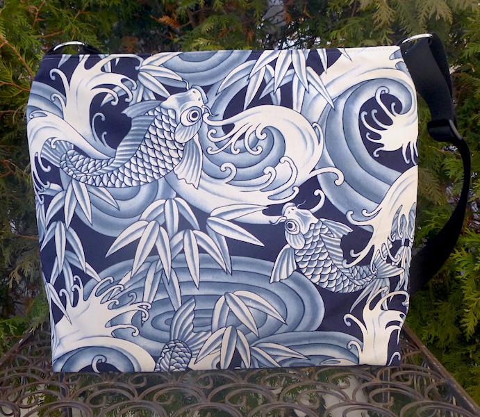Blue koi large travel bag purse