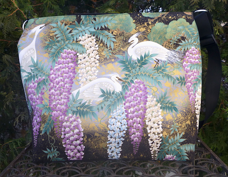 Japanese Herons and wisteria large purse travel bag