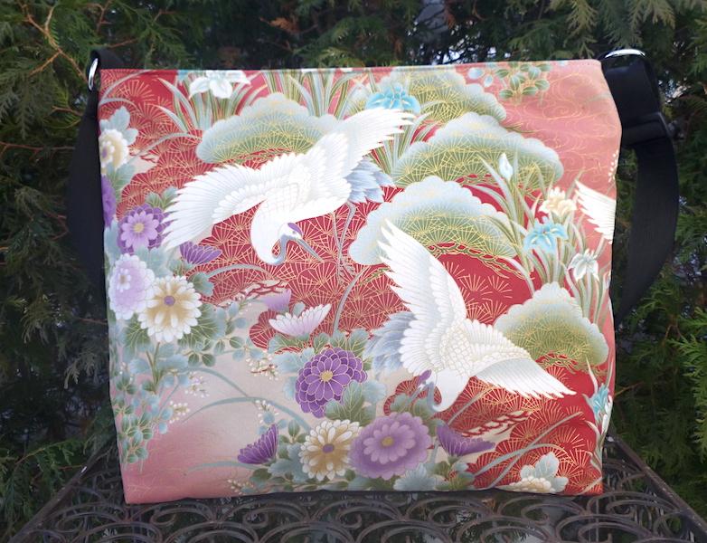 Japanese cranes large travel bag purse