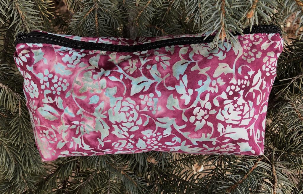 pretty batik flat bottom wedge bag for makeup or purse organizing