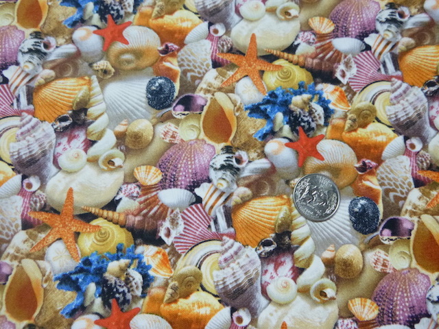 Realistic shells fabric for custom bags at Zoe's Bag Boutique