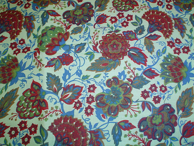 Jacobian flowers fabric for custom bags Zoe's Bag Boutique