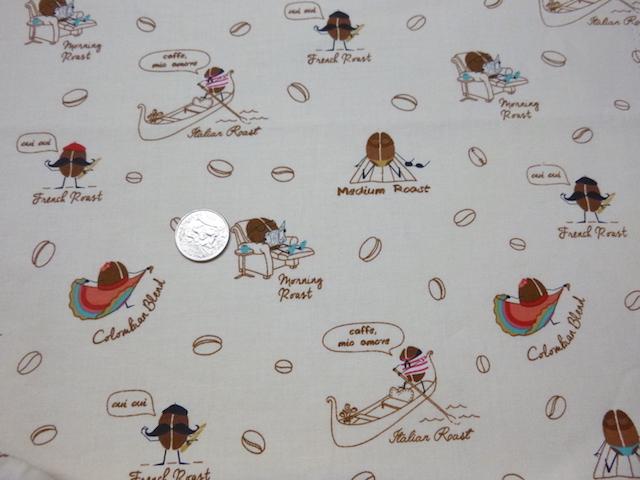 Coffee fabric for custom bags Zoe's Bag Boutique