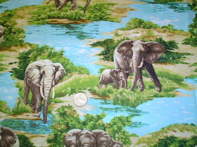Elephants fabric for bags
