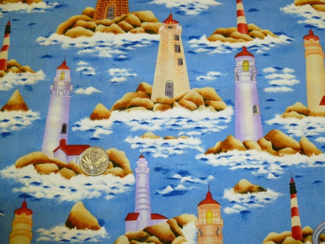 Lighthouses fabric for custom bags at Zoe's Bag Boutique