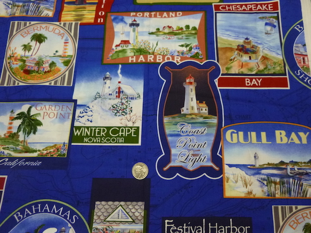 Lighthouse labels fabric for custom bags at Zoe's Bag Boutique