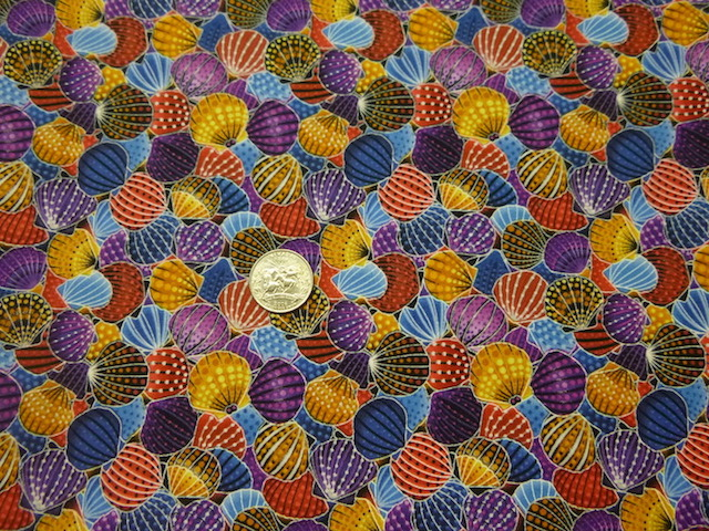 Seashells fabric for custom bags at Zoe's Bag Boutique