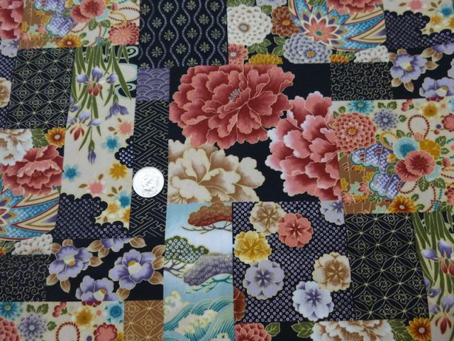 Japanese flowers patchwork fabric for custom bags Zoe's Bag Boutique