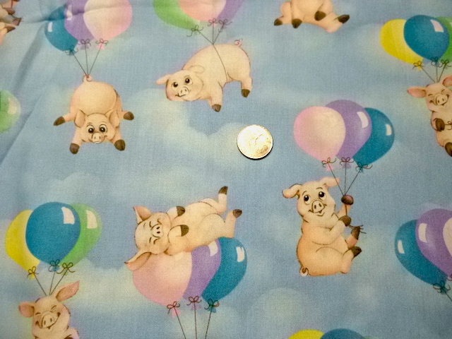 Pigs and balloons fabric for custom bags Zoe's Bag Boutique