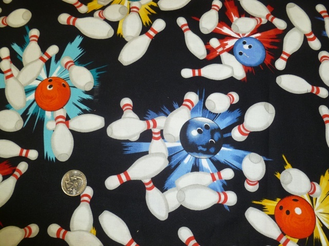 Bowling pins and balls fabric for custom bags Zoe's Bag Boutique