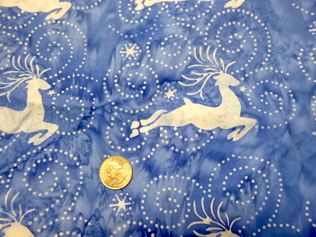 Batik reindeer on blue fabric for custom bags Zoe's Bag Boutique