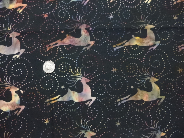 Batik reindeer on black fabric for custom bags Zoe's Bag Boutique