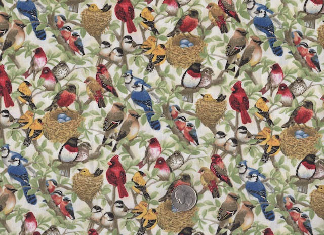 Birds fabric for custom bags at Zoe's Bag Boutique