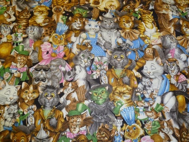 Big Cat Collage fabric for custom bags Zoe's Bag Boutique