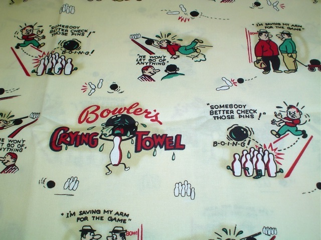 Bowlers crying towel retro fabric for custom bags Zoe's Bag Boutique