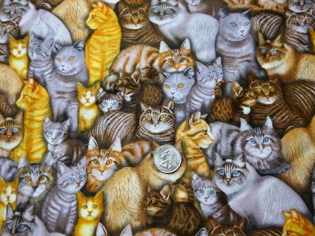 Cat Gathering fabric for custom bags Zoe's Bag Boutique