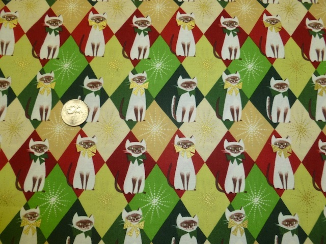 Siamese cats Christmas fabric for custom bags Zoe's Bag Boutique