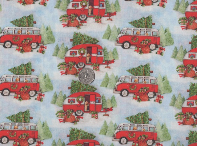 red campers and v.w buses fabric for custom made bags at Zoe's Bag Boutique