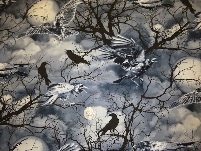 Bat, spiders, ravens, crows fabric for custom bags at Zoe's Bag Boutique