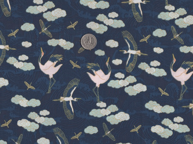 Japanese dancing cranes fabric for custom made bags at Zoe's Bag Boutique
