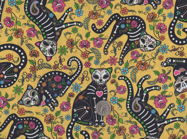 Day of the Dead Cats on yellow fabric for custom bags at Zoe's Bag Boutique