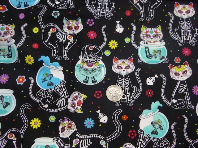 Day of the Dead Cats fabric for custom bags Zoe's Bag Boutique