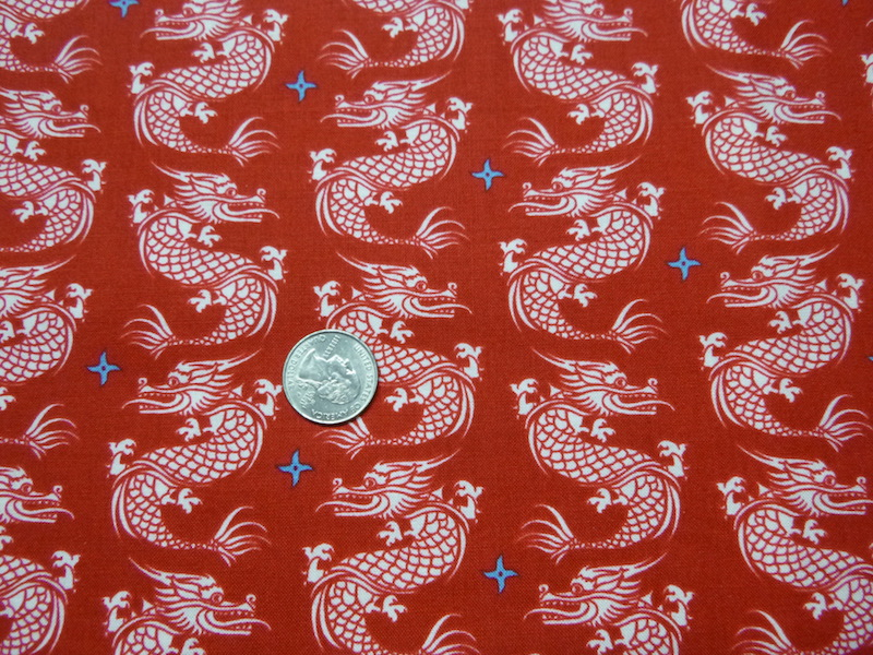Dragons on red fabric for custom bags Zoe's Bag Boutique